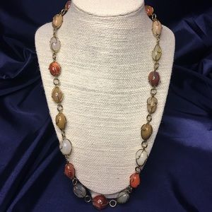 Neutral tone faux stone bead necklace